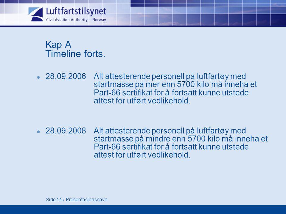 Side 14 / Presentasjonsnavn Kap A Timeline forts.