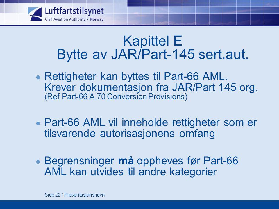 Side 22 / Presentasjonsnavn Kapittel E Bytte av JAR/Part-145 sert.aut.