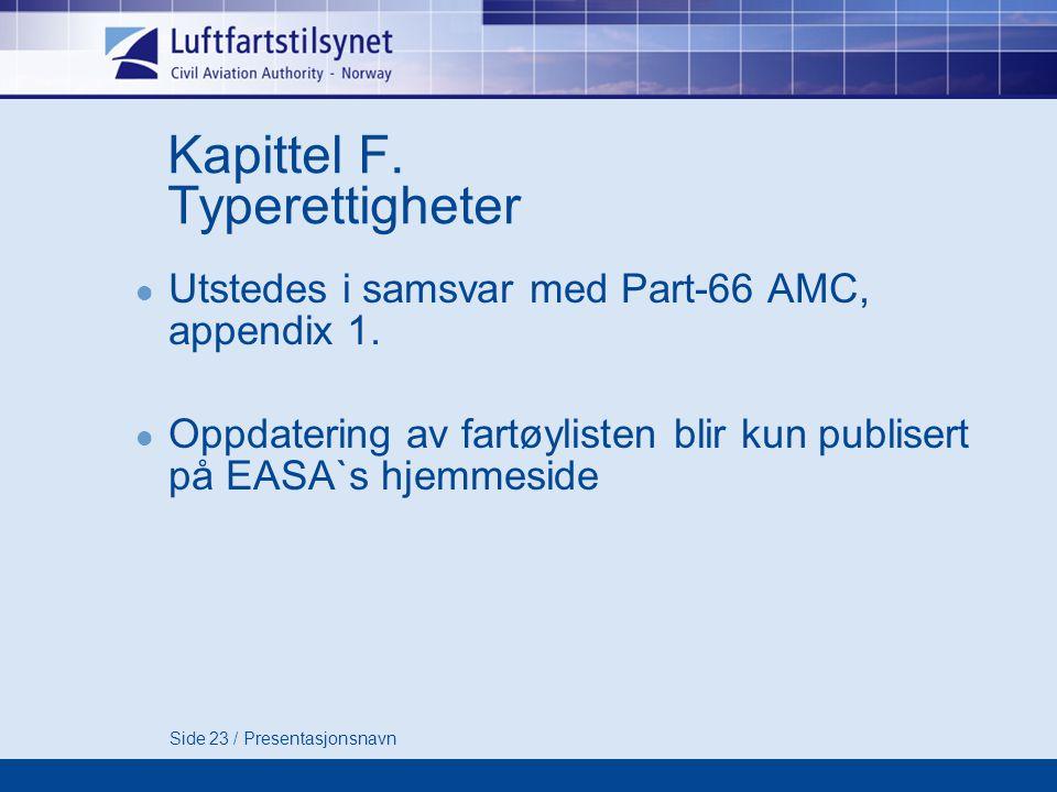 Side 23 / Presentasjonsnavn Kapittel F.