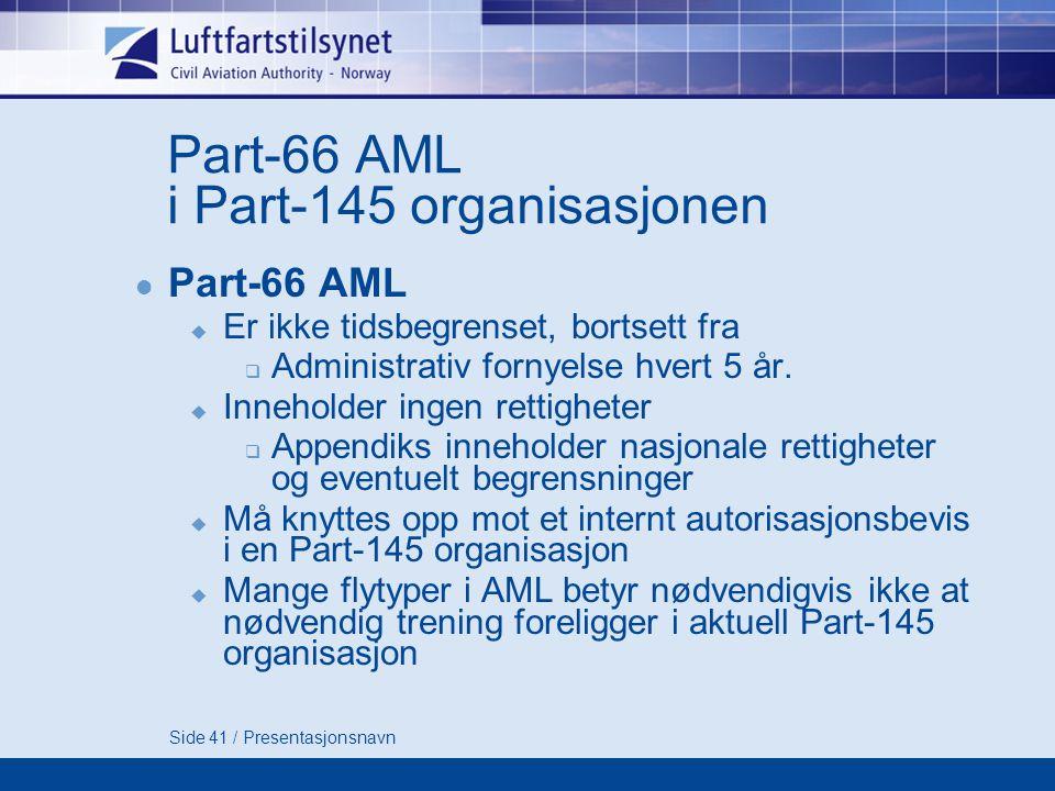 Side 41 / Presentasjonsnavn Part-66 AML i Part-145 organisasjonen  Part-66 AML  Er ikke tidsbegrenset, bortsett fra  Administrativ fornyelse hvert 5 år.