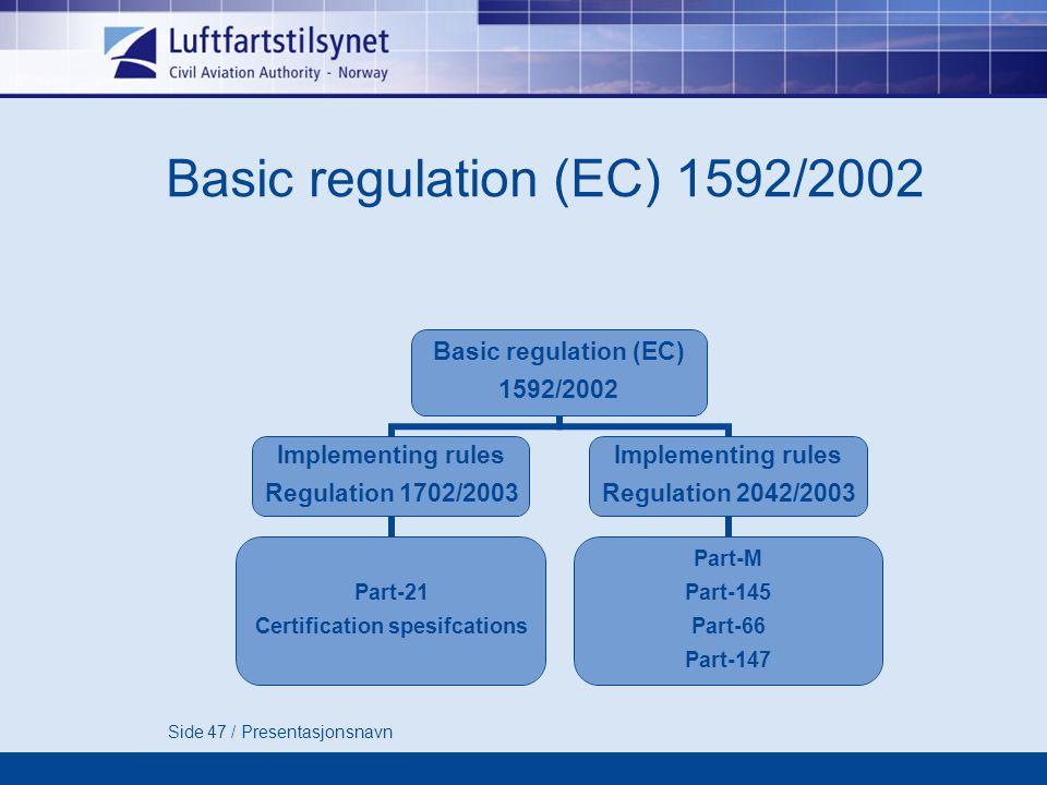 Side 47 / Presentasjonsnavn Basic regulation (EC) 1592/2002 Basic regulation (EC) 1592/2002 Implementing rules Regulation 1702/2003 Part-21 Certification spesifcations Implementing rules Regulation 2042/2003 Part-M Part-145 Part-66 Part-147