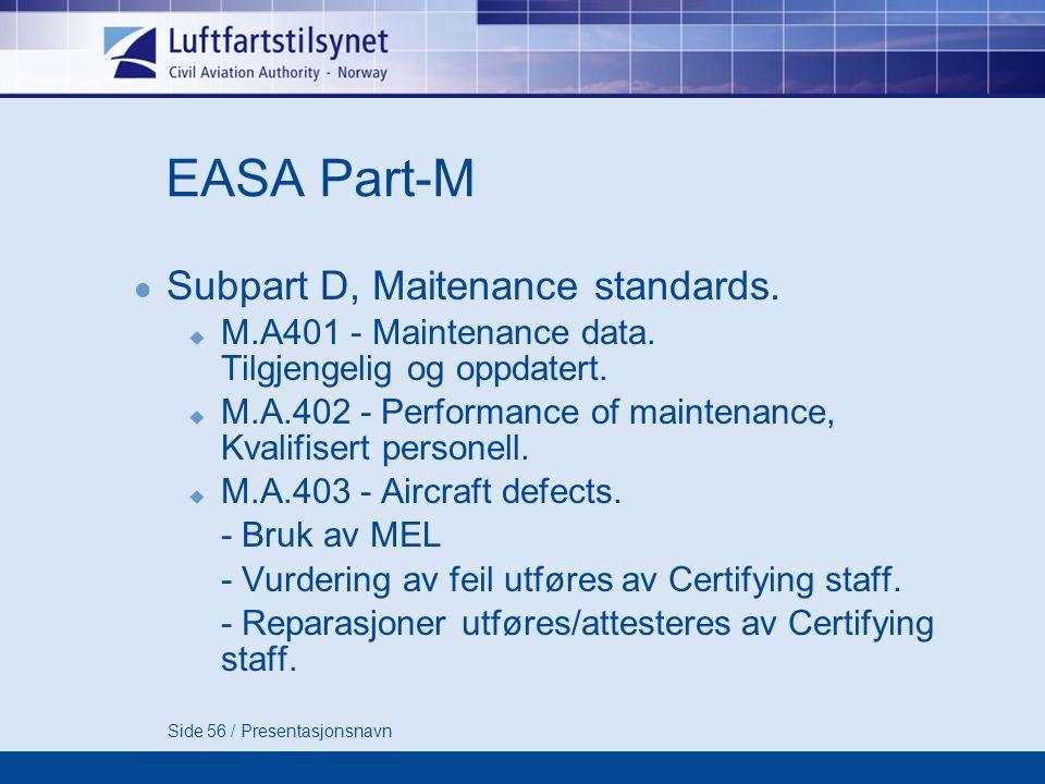 Side 56 / Presentasjonsnavn EASA Part-M  Subpart D, Maitenance standards.