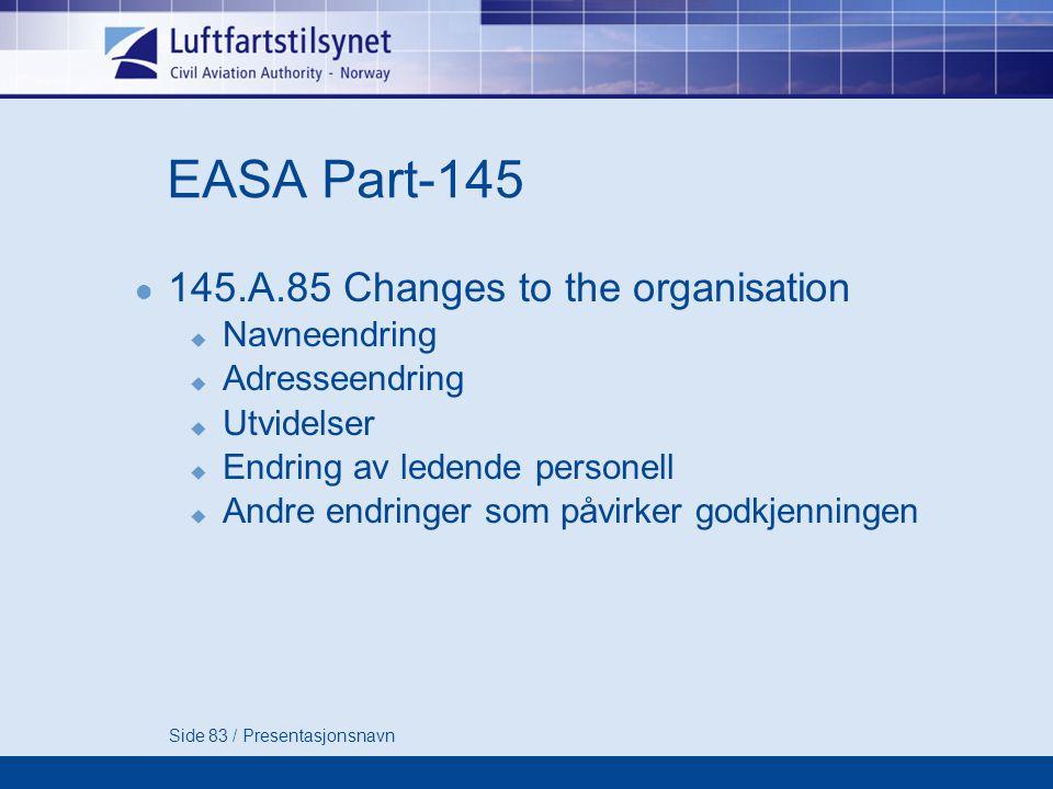Side 83 / Presentasjonsnavn EASA Part-145  145.A.85 Changes to the organisation  Navneendring  Adresseendring  Utvidelser  Endring av ledende personell  Andre endringer som påvirker godkjenningen