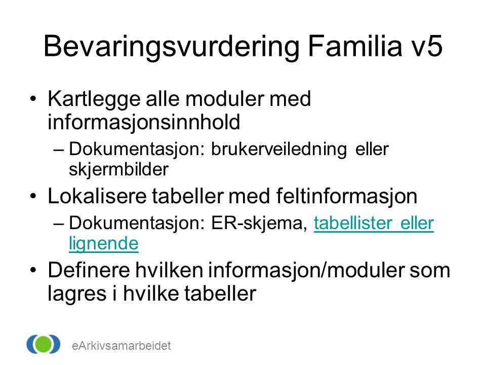 eArkivsamarbeidet Bevaringsvurdering Familia v5 •Kartlegge alle moduler med informasjonsinnhold –Dokumentasjon: brukerveiledning eller skjermbilder •L