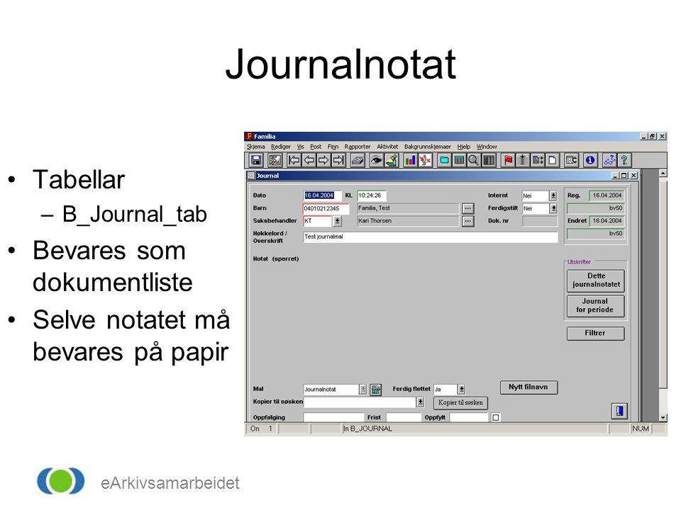 eArkivsamarbeidet Journalnotat •Tabellar –B_Journal_tab •Bevares som dokumentliste •Selve notatet må bevares på papir