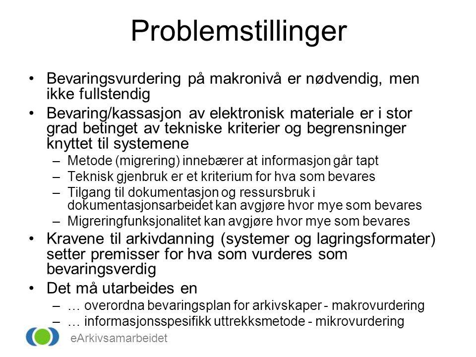 eArkivsamarbeidet Problemstillinger •Bevaringsvurdering på makronivå er nødvendig, men ikke fullstendig •Bevaring/kassasjon av elektronisk materiale e