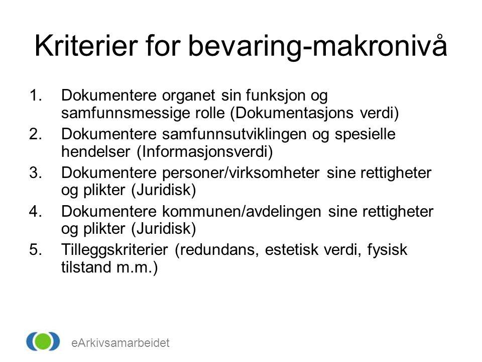 eArkivsamarbeidet Kriterier for bevaring-makronivå 1.Dokumentere organet sin funksjon og samfunnsmessige rolle (Dokumentasjons verdi) 2.Dokumentere sa