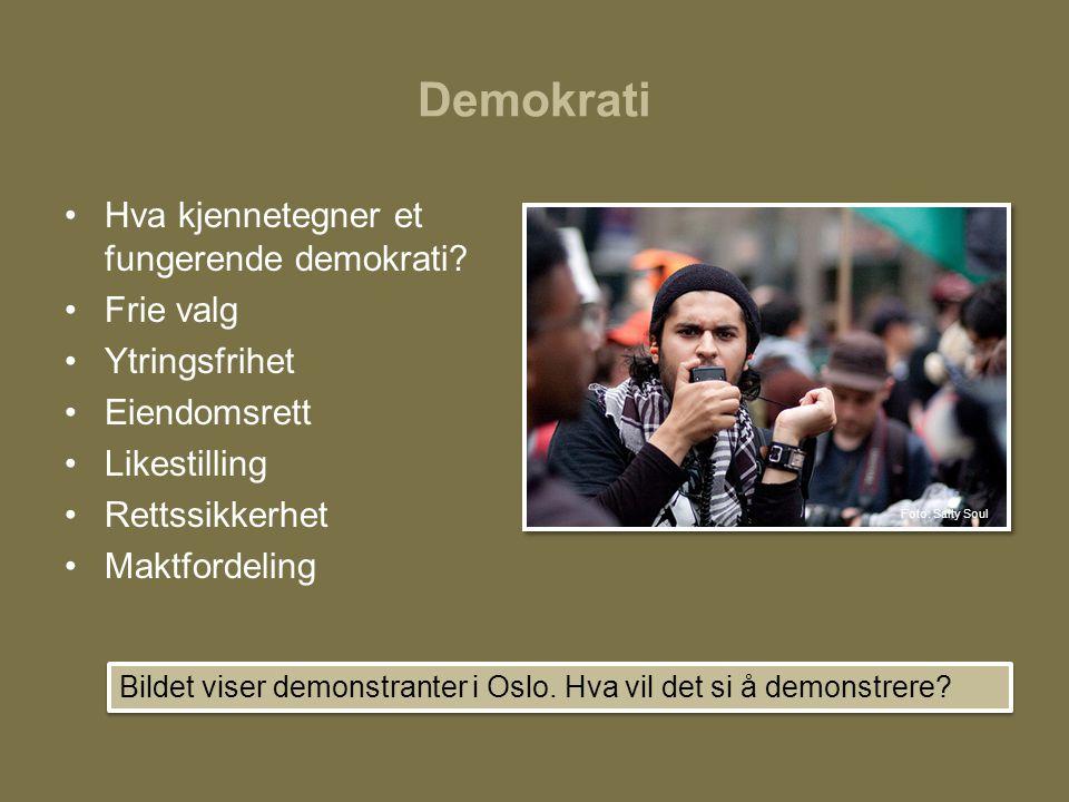 Demokrati •Hva kjennetegner et fungerende demokrati? •Frie valg •Ytringsfrihet •Eiendomsrett •Likestilling •Rettssikkerhet •Maktfordeling Bildet viser