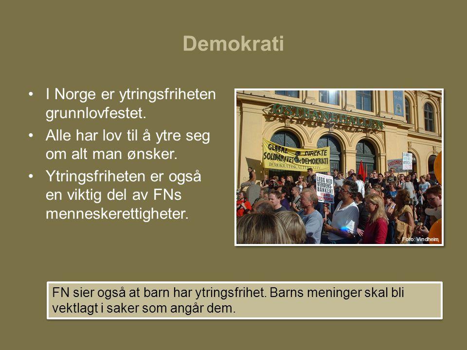 Demokrati •I Norge er ytringsfriheten grunnlovfestet. •Alle har lov til å ytre seg om alt man ønsker. •Ytringsfriheten er også en viktig del av FNs me