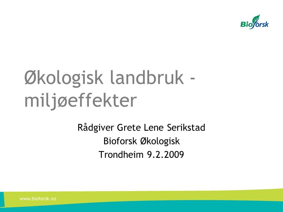 Økologisk landbruk - miljøeffekter Rådgiver Grete Lene Serikstad Bioforsk Økologisk Trondheim 9.2.2009