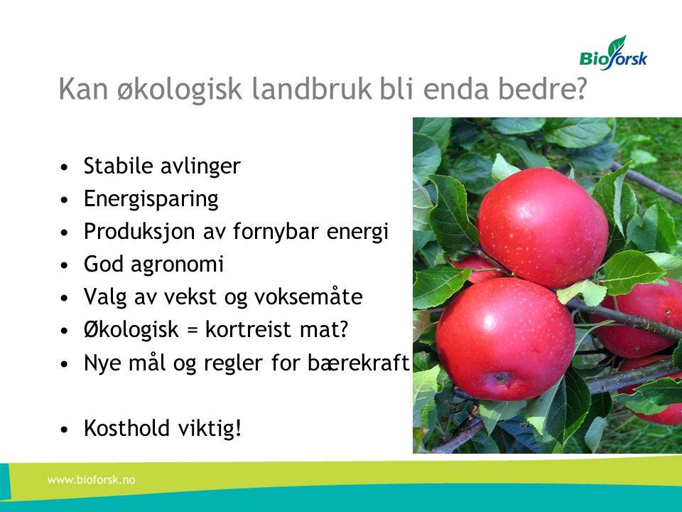 Kan økologisk landbruk bli enda bedre? •Stabile avlinger •Energisparing •Produksjon av fornybar energi •God agronomi •Valg av vekst og voksemåte •Økol