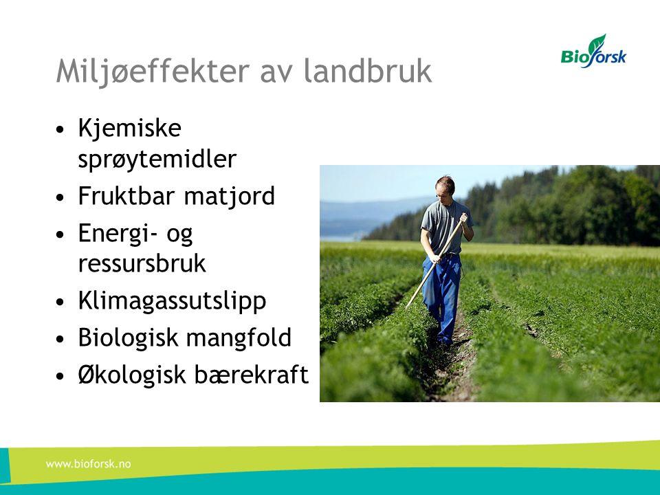 Miljøeffekter av landbruk •Kjemiske sprøytemidler •Fruktbar matjord •Energi- og ressursbruk •Klimagassutslipp •Biologisk mangfold •Økologisk bærekraft