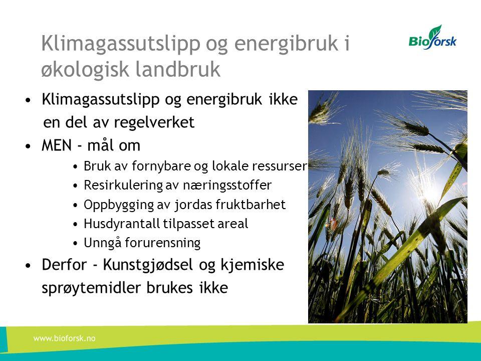 Klimagassutslipp og energibruk i økologisk landbruk •Klimagassutslipp og energibruk ikke en del av regelverket •MEN - mål om •Bruk av fornybare og lok