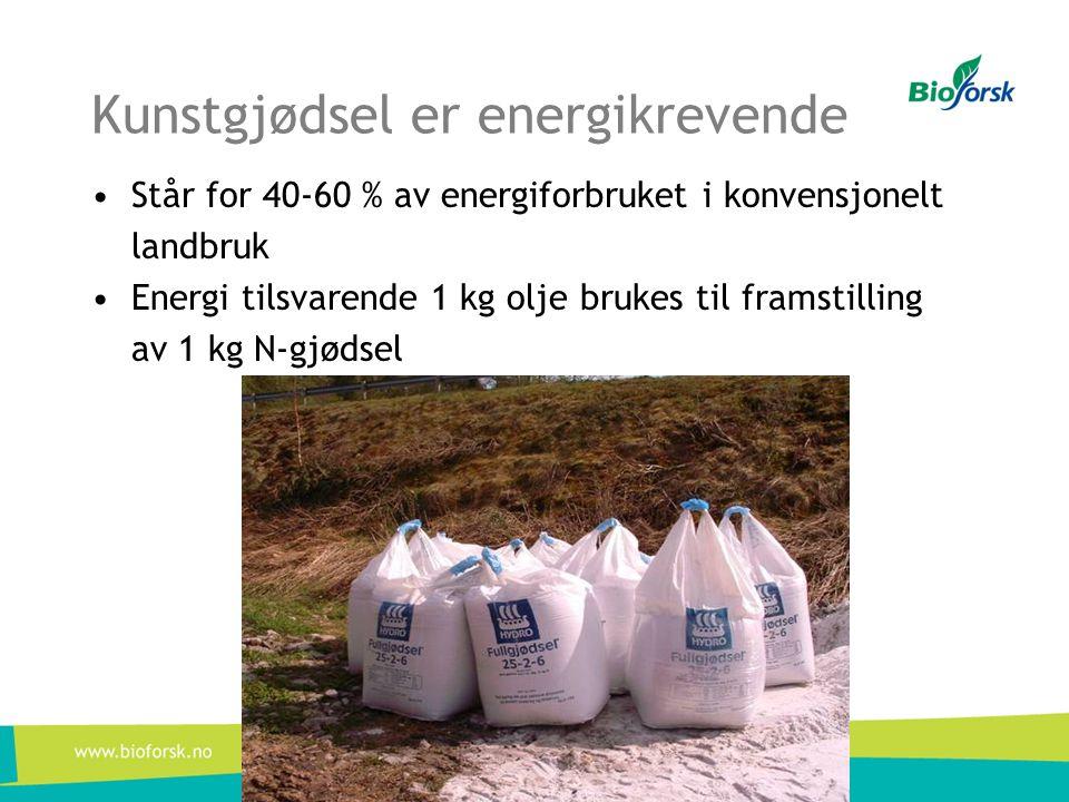 Kunstgjødsel er energikrevende •Står for 40-60 % av energiforbruket i konvensjonelt landbruk •Energi tilsvarende 1 kg olje brukes til framstilling av
