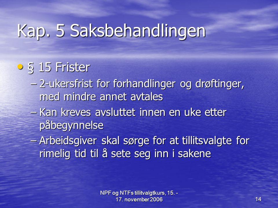 NPF og NTFs tillitvalgtkurs, 15. - 17. november 200614 Kap. 5 Saksbehandlingen • § 15 Frister –2-ukersfrist for forhandlinger og drøftinger, med mindr