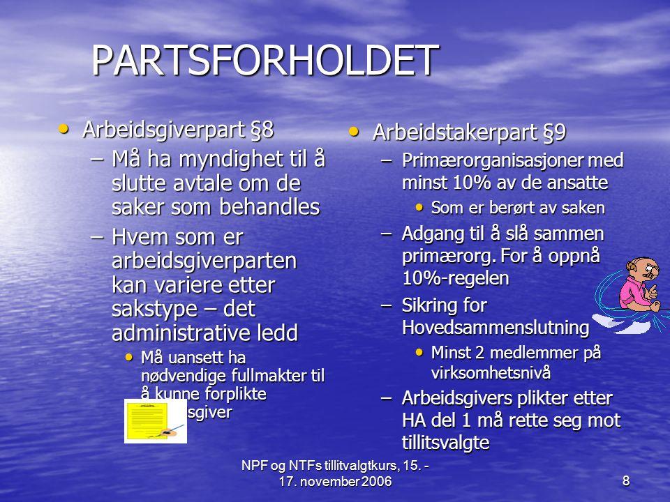 NPF og NTFs tillitvalgtkurs, 15. - 17. november 20068 PARTSFORHOLDET • Arbeidsgiverpart §8 –Må ha myndighet til å slutte avtale om de saker som behand