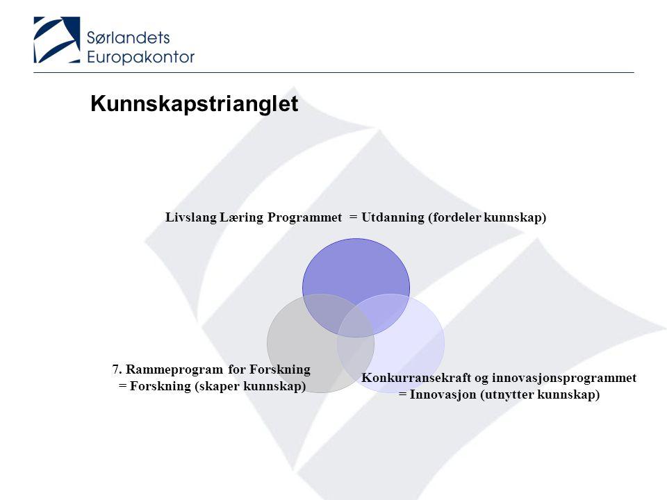 Kunnskapstrianglet Livslang Læring Programmet = Utdanning (fordeler kunnskap) Konkurransekraft og innovasjonsprogrammet = Innovasjon (utnytter kunnska