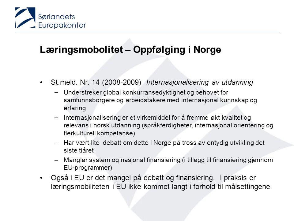 Læringsmobolitet – Oppfølging i Norge •St.meld. Nr. 14 (2008-2009) Internasjonalisering av utdanning –Understreker global konkurransedyktighet og beho