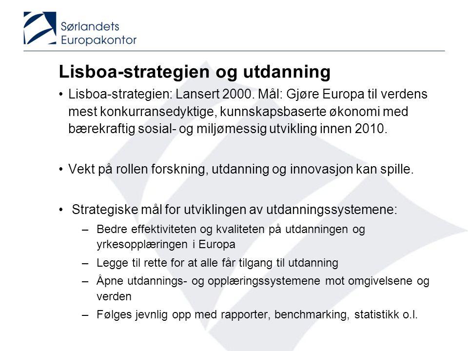 Lisboa-strategien og utdanning •Lisboa-strategien: Lansert 2000. Mål: Gjøre Europa til verdens mest konkurransedyktige, kunnskapsbaserte økonomi med b