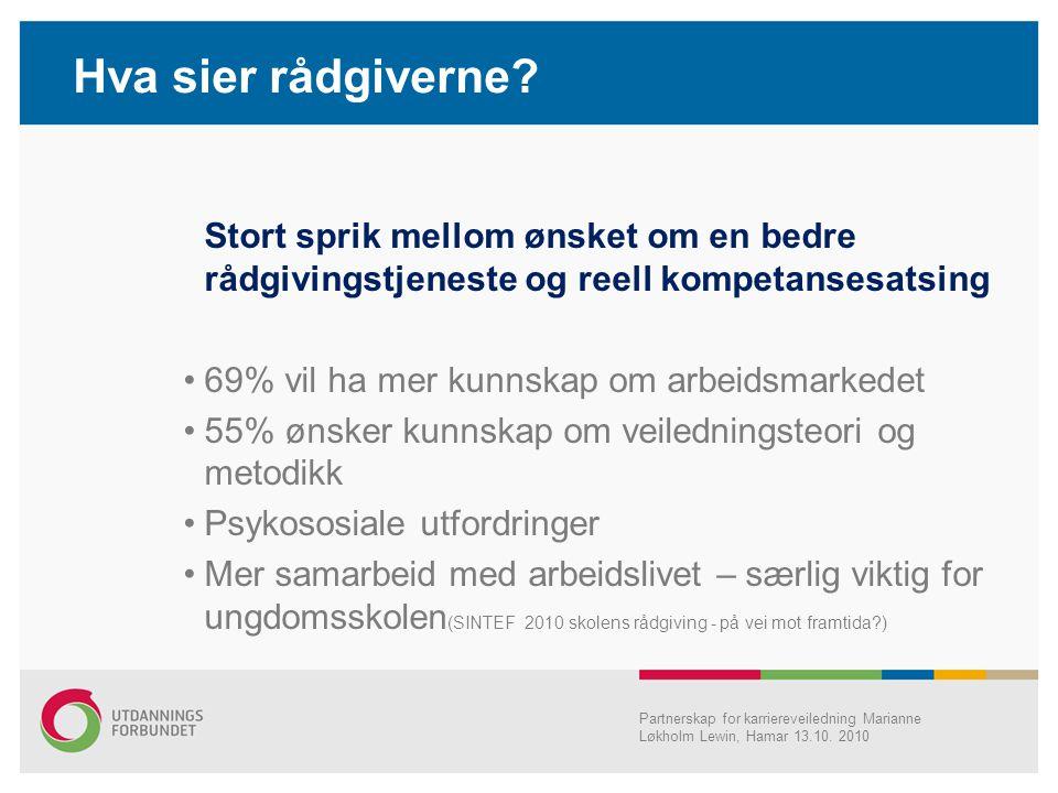 Hva sier rådgiverne? Stort sprik mellom ønsket om en bedre rådgivingstjeneste og reell kompetansesatsing •69% vil ha mer kunnskap om arbeidsmarkedet •