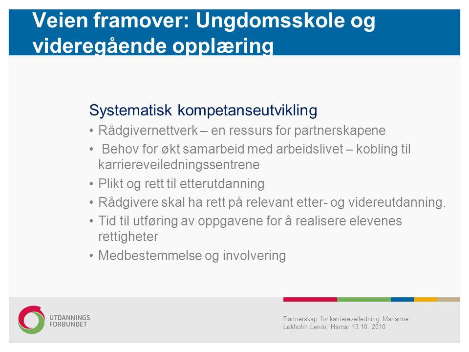 Veien framover: Ungdomsskole og videregående opplæring Partnerskap for karriereveiledning Marianne Løkholm Lewin, Hamar 13.10. 2010 Systematisk kompet