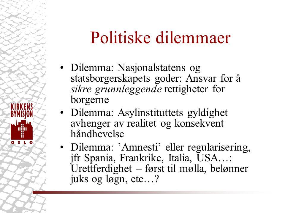 Politiske dilemmaer •Dilemma: Nasjonalstatens og statsborgerskapets goder: Ansvar for å sikre grunnleggende rettigheter for borgerne •Dilemma: Asylinstituttets gyldighet avhenger av realitet og konsekvent håndhevelse •Dilemma: 'Amnesti' eller regularisering, jfr Spania, Frankrike, Italia, USA…: Urettferdighet – først til mølla, belønner juks og løgn, etc…