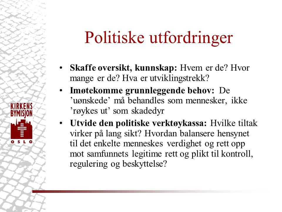 Politiske utfordringer •Skaffe oversikt, kunnskap: Hvem er de? Hvor mange er de? Hva er utviklingstrekk? •Imøtekomme grunnleggende behov: De 'uønskede
