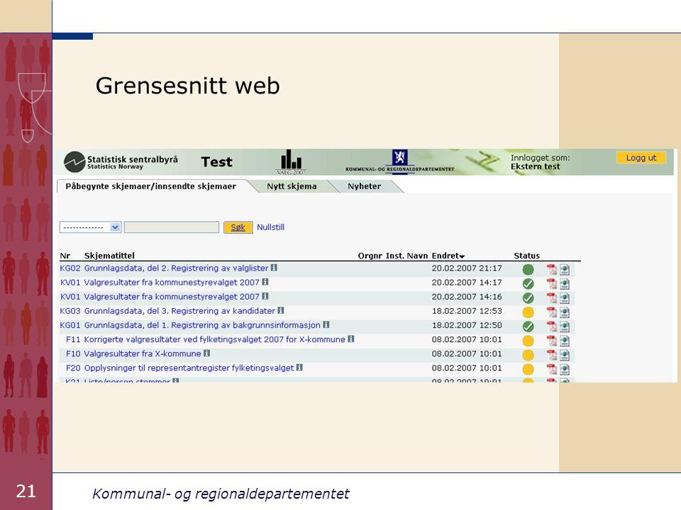 Kommunal- og regionaldepartementet 21 Grensesnitt web