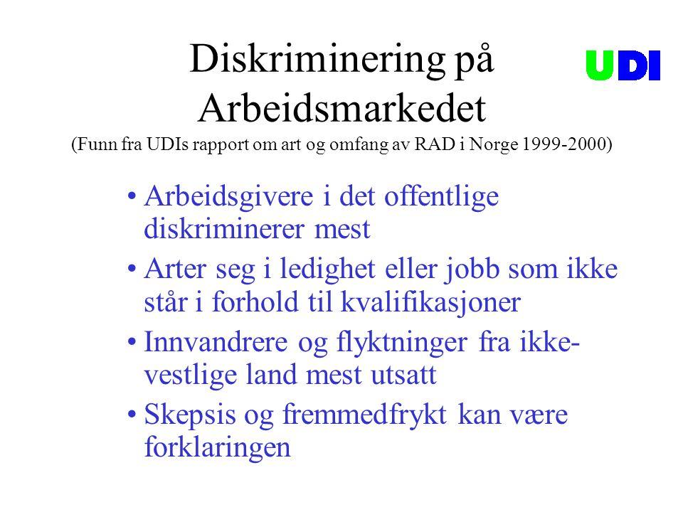 Diskriminering i offentlige instanser (UDIs rapport om RAD i Norge 1999-2000) Hvilke offentlige etater som kommunene mener diskriminerer (Faste svaralternativ).