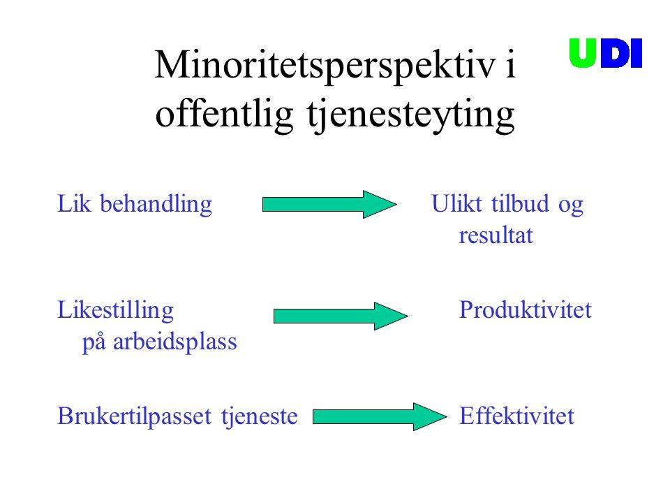 Minoritetsperspektiv i offentlig tjenesteyting Lik behandling Ulikt tilbud og resultat Likestilling Produktivitet på arbeidsplass Brukertilpasset tjen