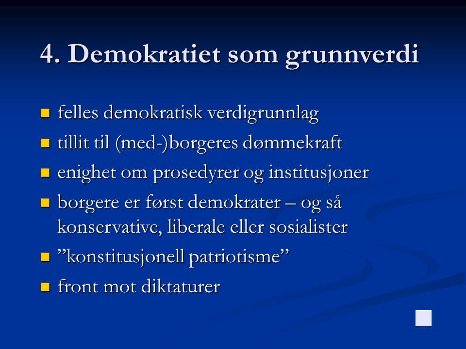 4. Demokratiet som grunnverdi  felles demokratisk verdigrunnlag  tillit til (med-)borgeres dømmekraft  enighet om prosedyrer og institusjoner  bor