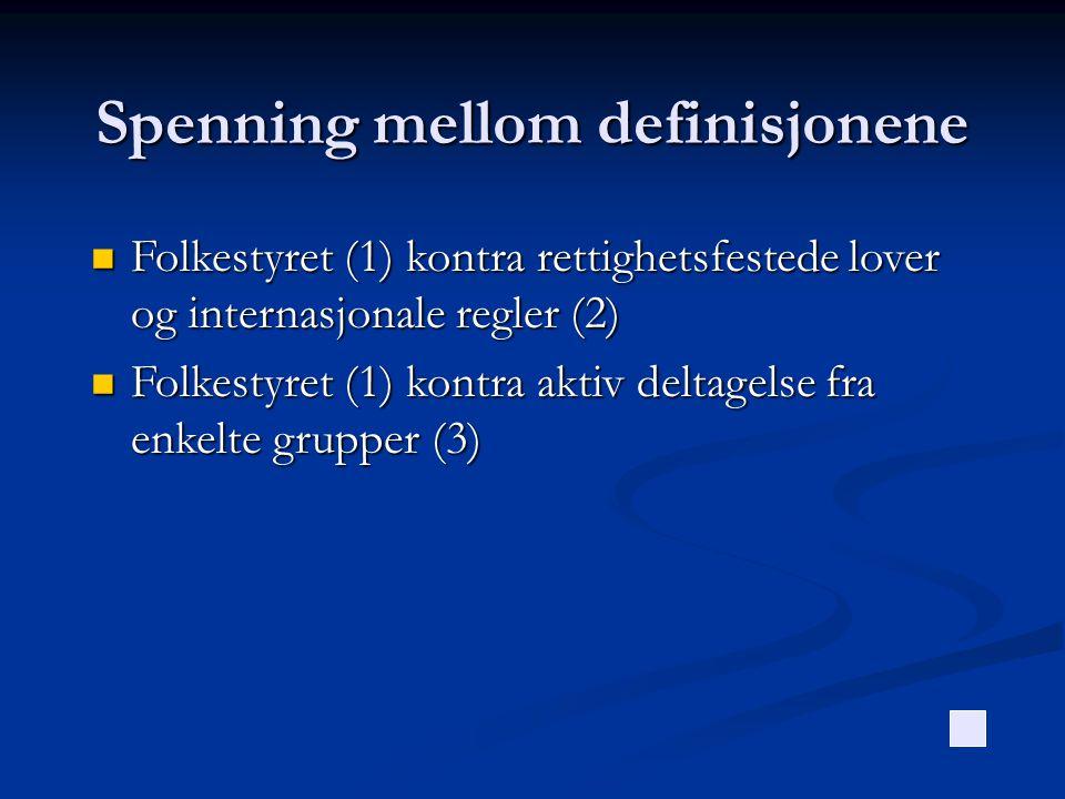 Spenning mellom definisjonene  Folkestyret (1) kontra rettighetsfestede lover og internasjonale regler (2)  Folkestyret (1) kontra aktiv deltagelse