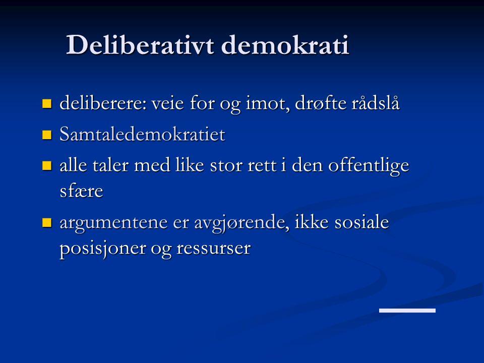 Deliberativt demokrati  deliberere: veie for og imot, drøfte rådslå  Samtaledemokratiet  alle taler med like stor rett i den offentlige sfære  arg