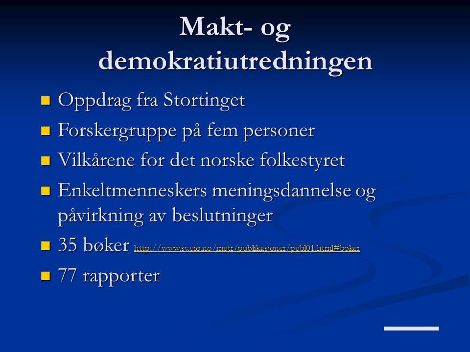 Makt- og demokratiutredningen  Oppdrag fra Stortinget  Forskergruppe på fem personer  Vilkårene for det norske folkestyret  Enkeltmenneskers menin
