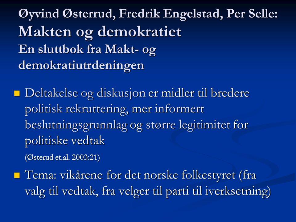 Øyvind Østerrud, Fredrik Engelstad, Per Selle: Makten og demokratiet En sluttbok fra Makt- og demokratiutrdeningen  Deltakelse og diskusjon er midler