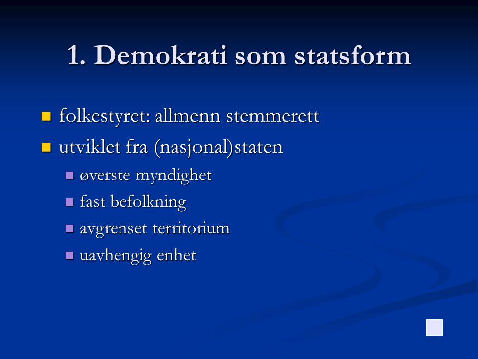 1. Demokrati som statsform  folkestyret: allmenn stemmerett  utviklet fra (nasjonal)staten  øverste myndighet  fast befolkning  avgrenset territo