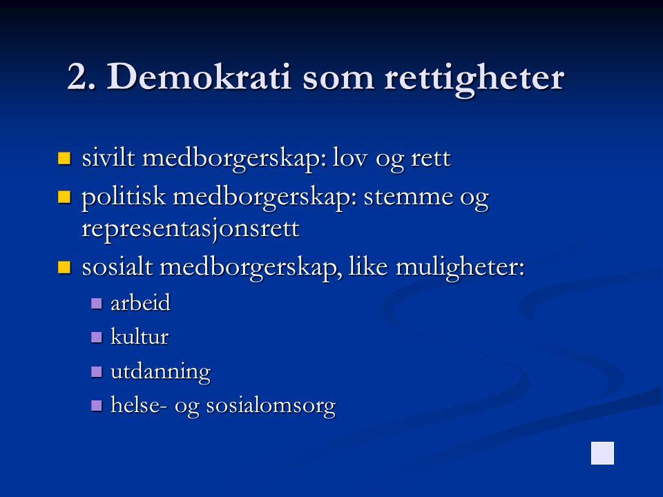 2. Demokrati som rettigheter  sivilt medborgerskap: lov og rett  politisk medborgerskap: stemme og representasjonsrett  sosialt medborgerskap, like