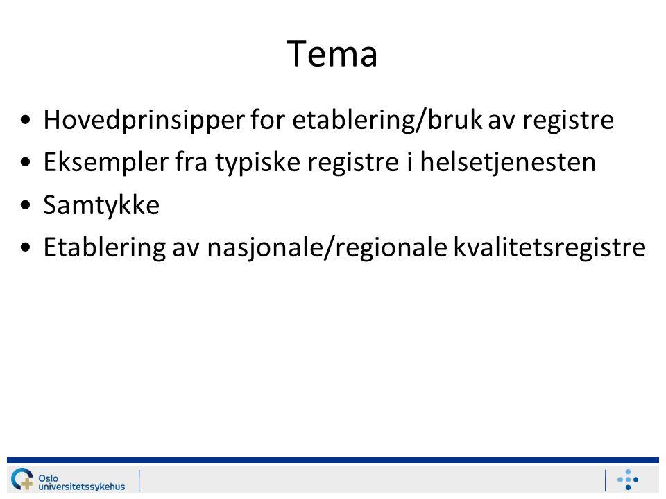 Tema •Hovedprinsipper for etablering/bruk av registre •Eksempler fra typiske registre i helsetjenesten •Samtykke •Etablering av nasjonale/regionale kvalitetsregistre