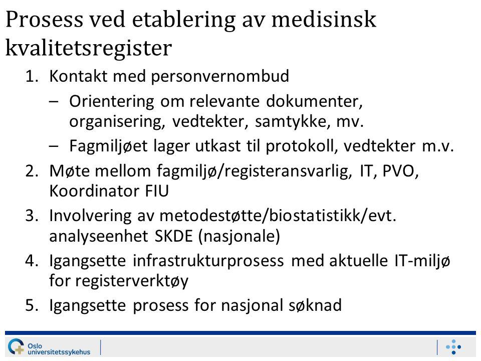 Prosess ved etablering av medisinsk kvalitetsregister 1.Kontakt med personvernombud –Orientering om relevante dokumenter, organisering, vedtekter, samtykke, mv.