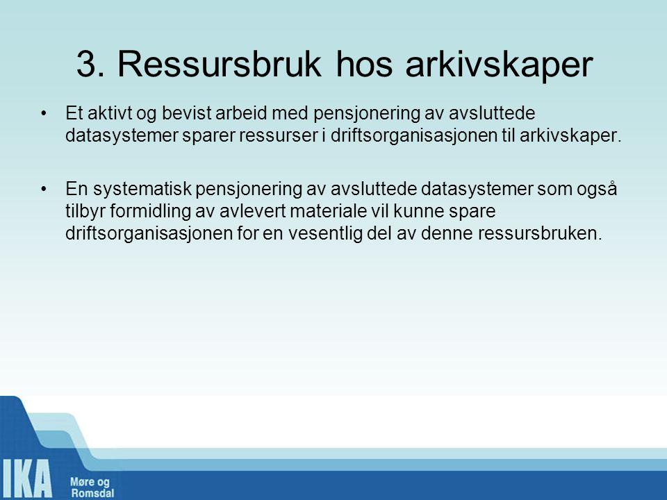 3. Ressursbruk hos arkivskaper •Et aktivt og bevist arbeid med pensjonering av avsluttede datasystemer sparer ressurser i driftsorganisasjonen til ark