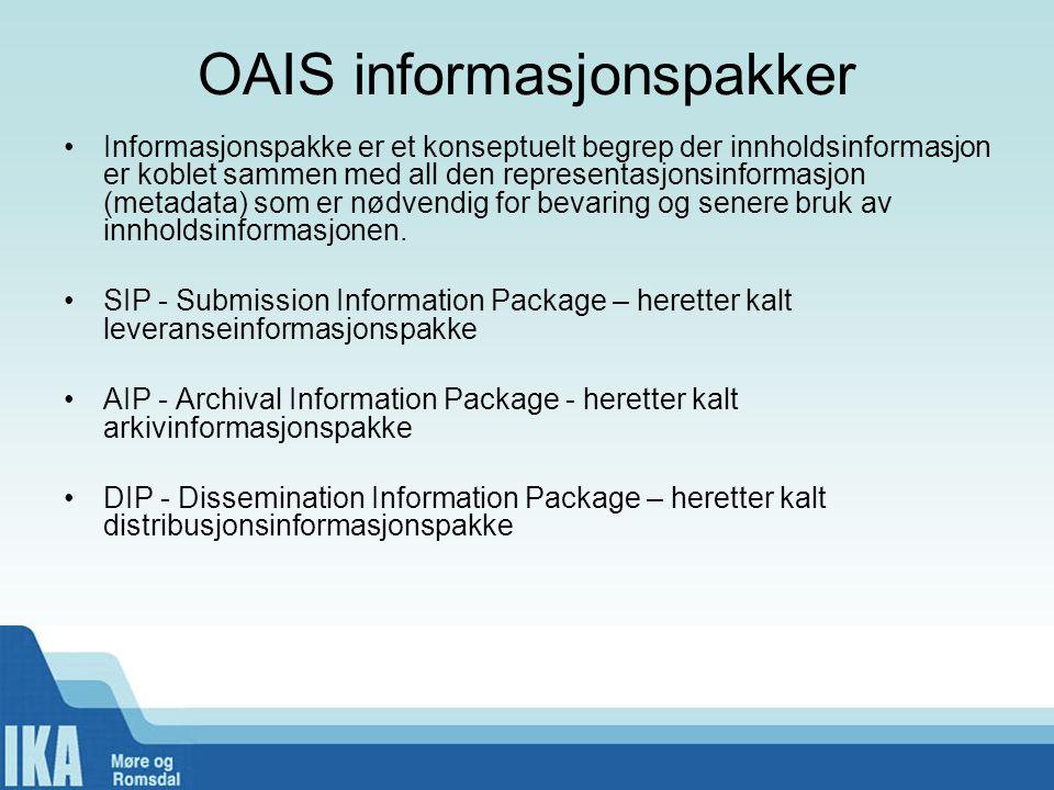 OAIS informasjonspakker •Informasjonspakke er et konseptuelt begrep der innholdsinformasjon er koblet sammen med all den representasjonsinformasjon (m