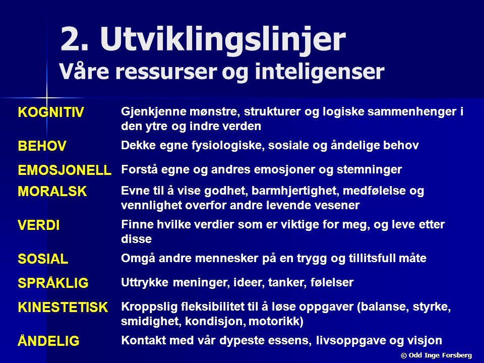 © Odd Inge Forsberg 2. Utviklingslinjer Våre ressurser og inteligenser KOGNITIV Gjenkjenne mønstre, strukturer og logiske sammenhenger i den ytre og i