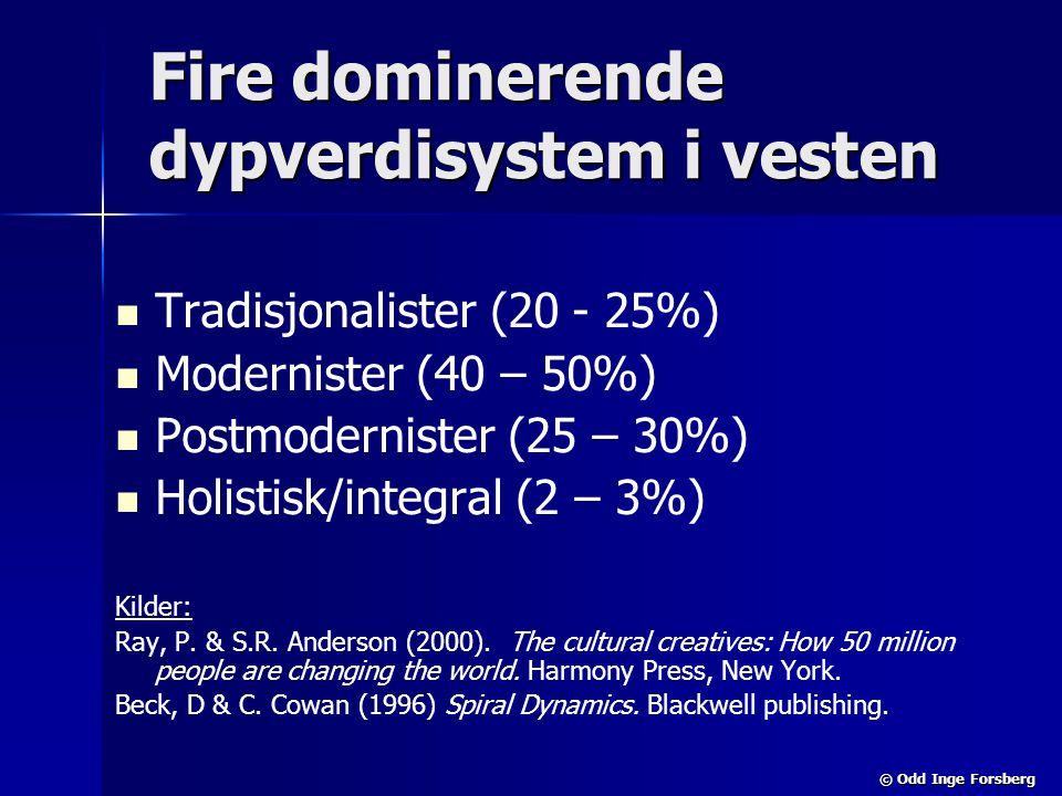 © Odd Inge Forsberg Fire dominerende dypverdisystem i vesten   Tradisjonalister (20 - 25%)   Modernister (40 – 50%)   Postmodernister (25 – 30%)