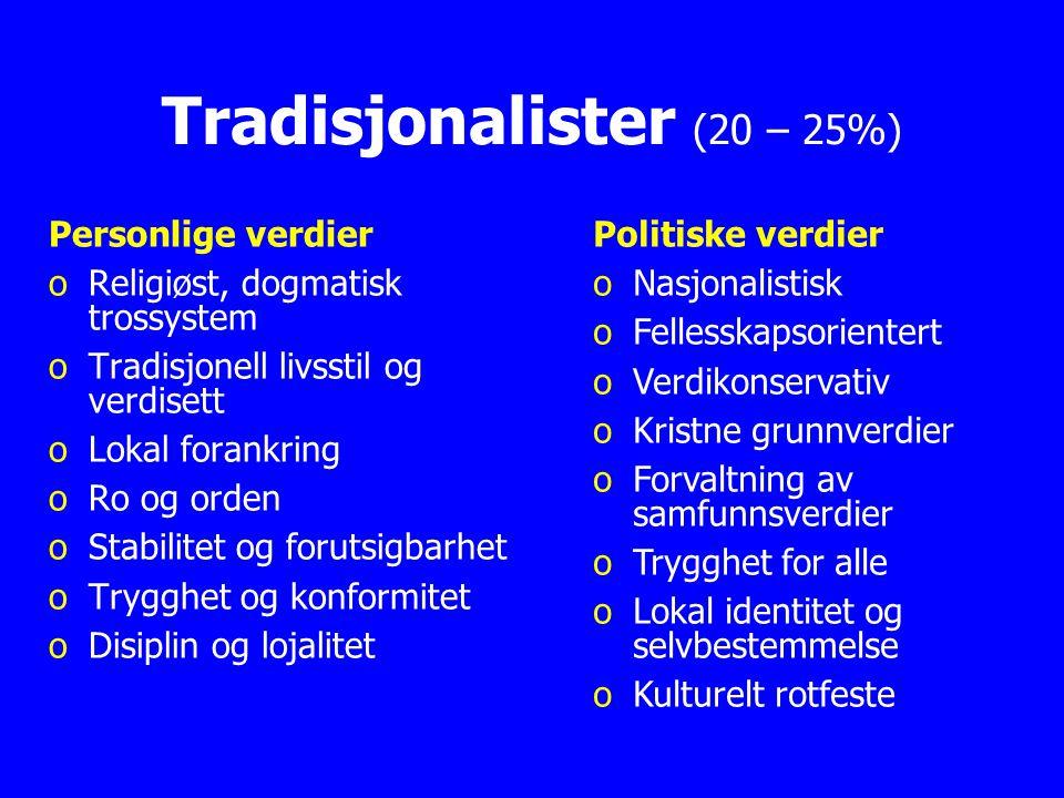 © Odd Inge Forsberg Tradisjonalister (20 – 25%) Personlige verdier o oReligiøst, dogmatisk trossystem o oTradisjonell livsstil og verdisett o oLokal f