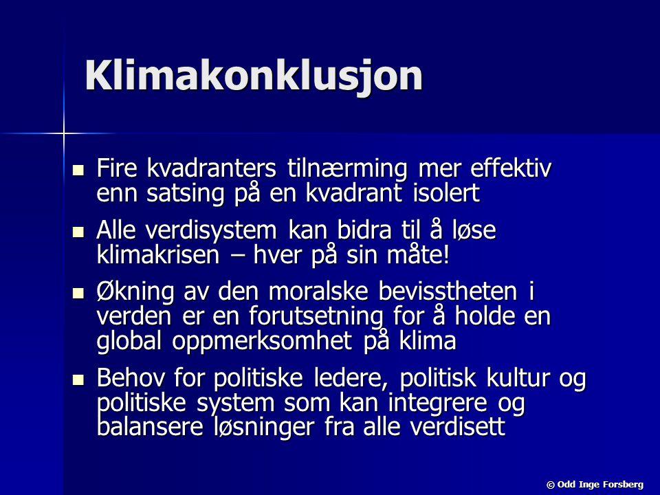 © Odd Inge Forsberg Klimakonklusjon  Fire kvadranters tilnærming mer effektiv enn satsing på en kvadrant isolert  Alle verdisystem kan bidra til å l