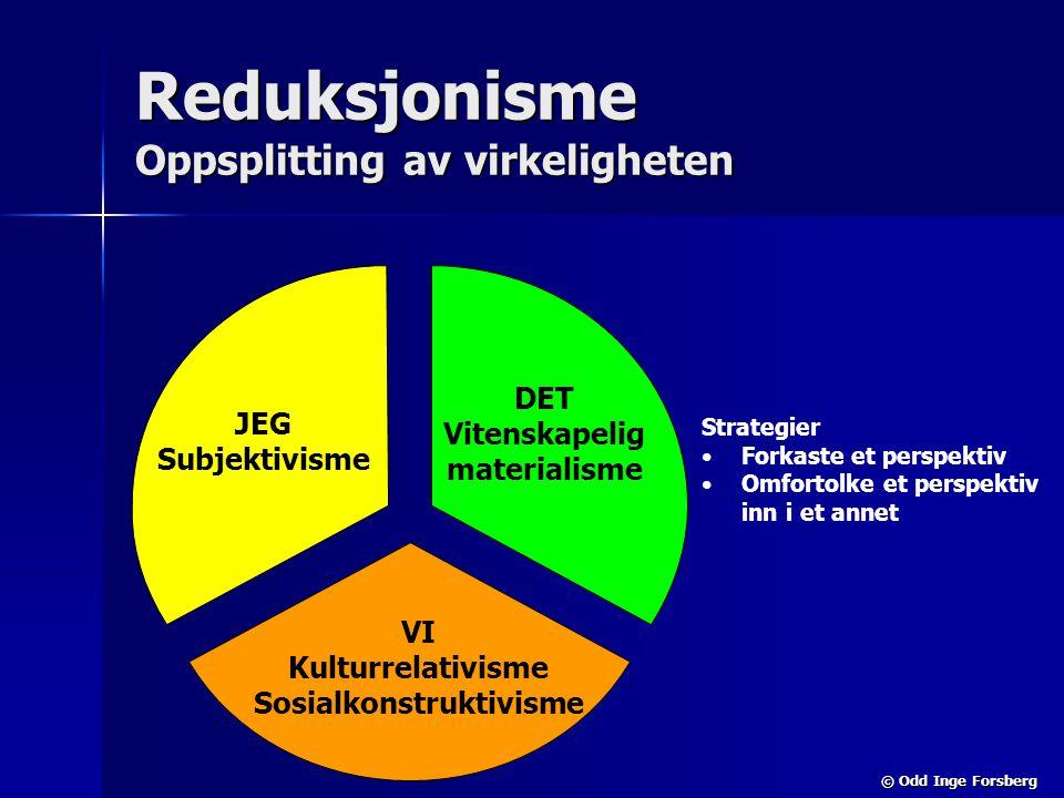 © Odd Inge Forsberg Reduksjonisme Oppsplitting av virkeligheten JEG Subjektivisme DET Vitenskapelig materialisme VI Kulturrelativisme Sosialkonstrukti