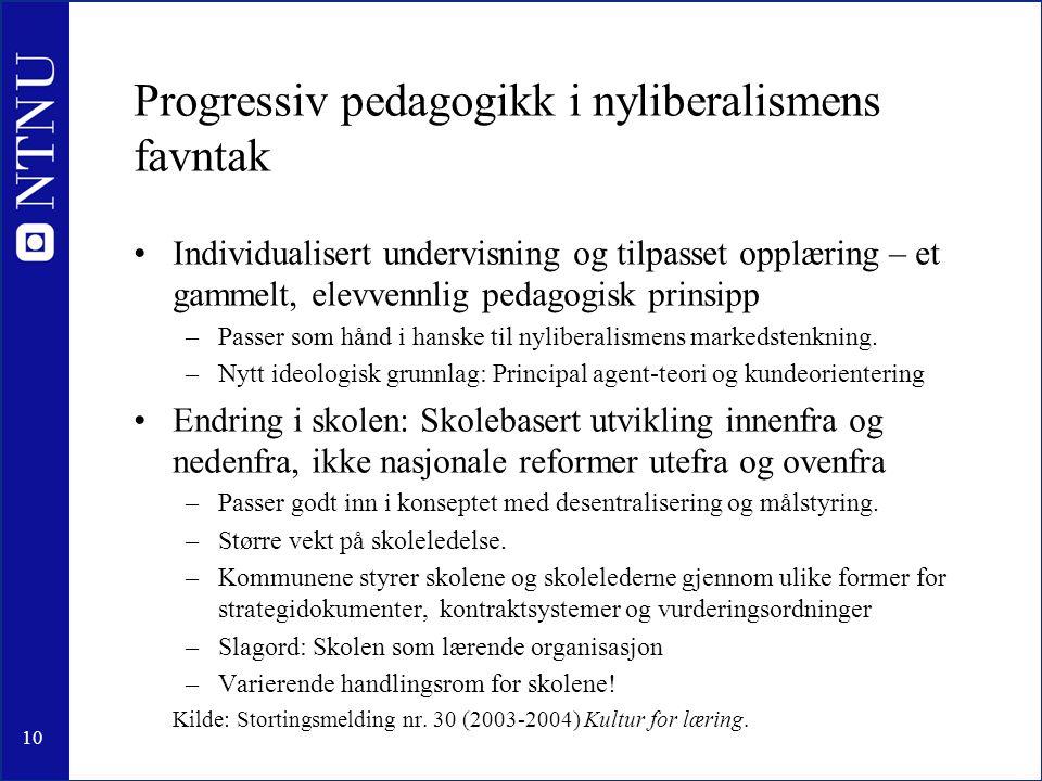 10 Progressiv pedagogikk i nyliberalismens favntak •Individualisert undervisning og tilpasset opplæring – et gammelt, elevvennlig pedagogisk prinsipp –Passer som hånd i hanske til nyliberalismens markedstenkning.