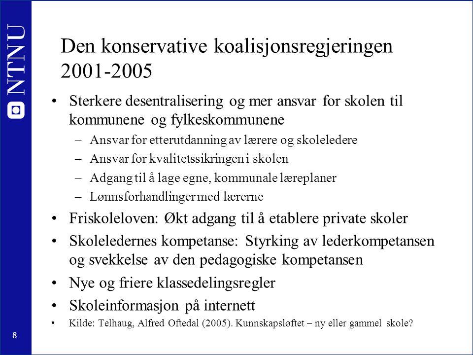 8 Den konservative koalisjonsregjeringen 2001-2005 •Sterkere desentralisering og mer ansvar for skolen til kommunene og fylkeskommunene –Ansvar for et