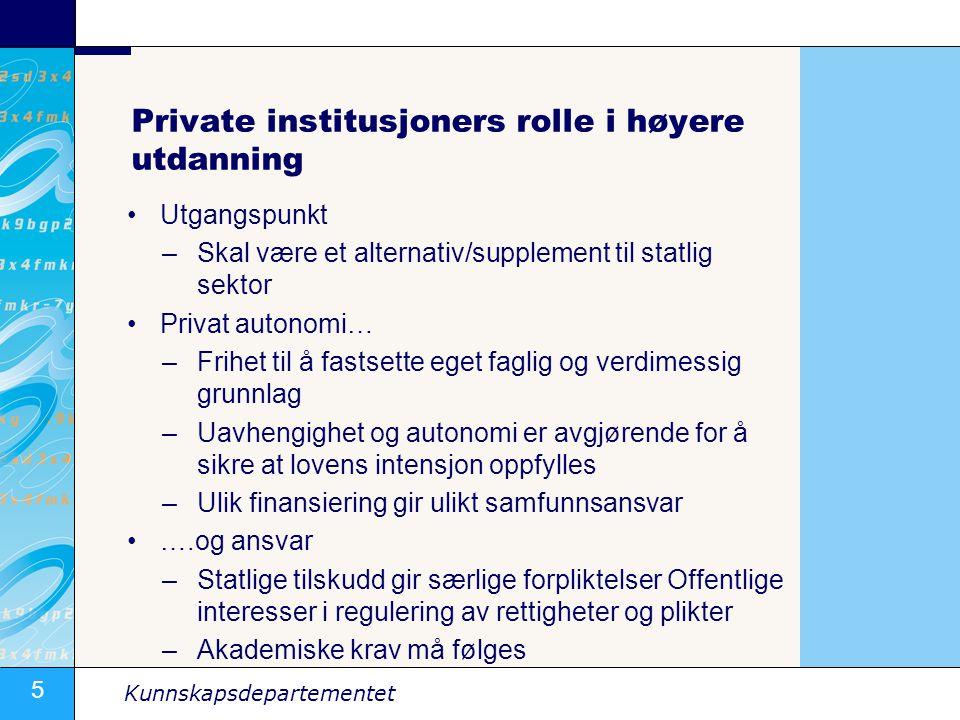 5 Kunnskapsdepartementet Private institusjoners rolle i høyere utdanning •Utgangspunkt –Skal være et alternativ/supplement til statlig sektor •Privat