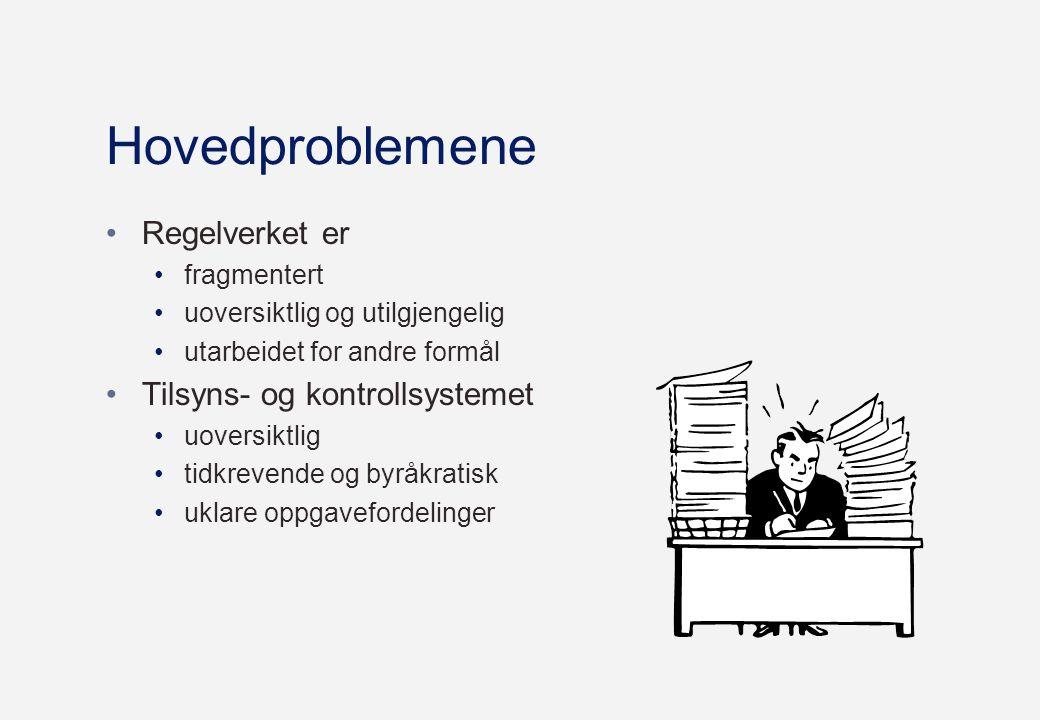 Hovedproblemene •Regelverket er •fragmentert •uoversiktlig og utilgjengelig •utarbeidet for andre formål •Tilsyns- og kontrollsystemet •uoversiktlig •